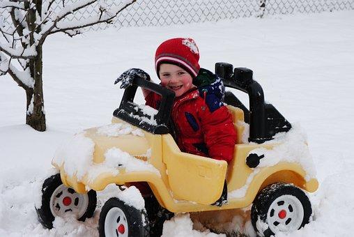 Snow, Car, Child, Smile, Stuck, Winter, Road, Cold