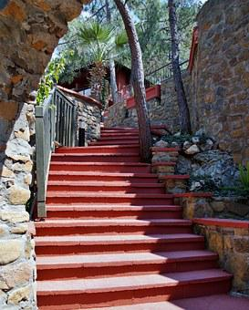 Stairs, Red, Soar, Stone Steps