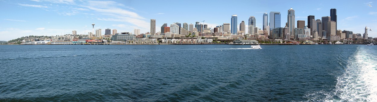 Seattle, Skyline, Ferry, Puget, Sound, Washington, City