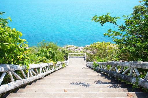 Stairs, Sea, Blue, Nature, Water, Stone, View, Steps