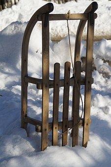 Slide, Toboggan, Tobogganing, Wooden Sled, Winter
