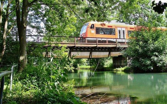 Hamlet Of Bergen, Brenz, Brenzbruecke, Railway, Train