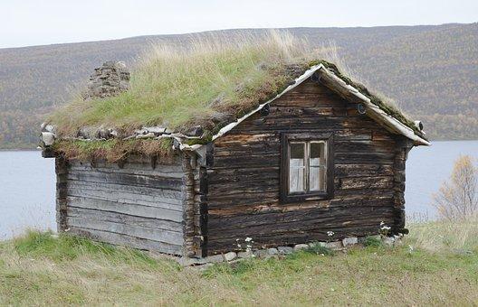 Sauna, Sauna Cabin, Old, Turf Roof, Log, Logs, Cottage