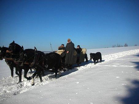 Vogtland, Landscape, Winter, Snow, Ice, Sky, Clouds