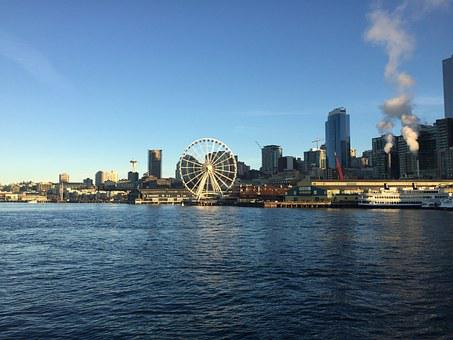 Ferris Wheel, Seattle, Puget Sound, Washington, Wheel