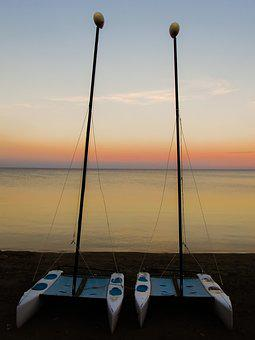 Boat, Sailboat, Beach, Sea, Horizon, Sunset, Autumn