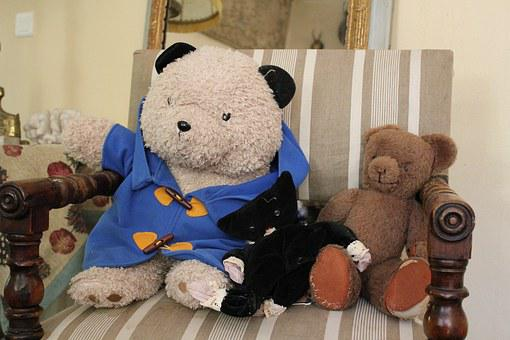 Teddy, Bear Cub, Friend, Toys, Chair, Bear, Friendship