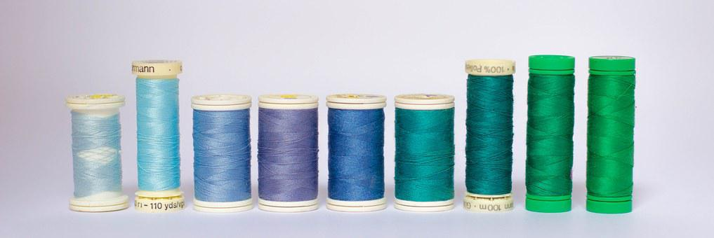 Threads, Colors, Coil, Coils, Haberdashery, Blue