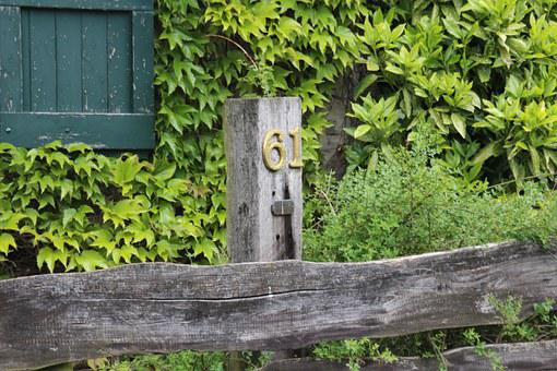 House Number, Garden Fence, Color, Green, Brown, Wood