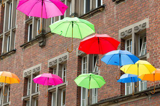 Umbrellas, House, Wall, Many, Colorful, Red, Green
