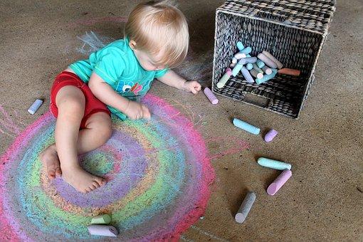 Child, Toddler, Boy, Rainbow, Chalk, Concrete, Cement