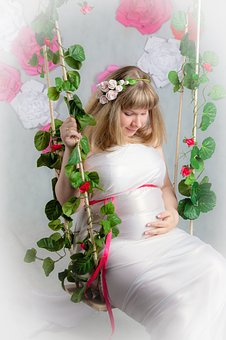 Pregnant, Swing, Child Waiting, Mom, Woman, Expecting