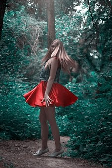 Girl, Red Skirt, Forest, Blonde, Spin, Hands