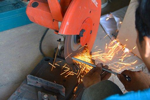 Grinder, Sparks, Metal, Tool, Steel, Worker, Work, Iron