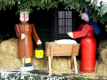 Nativity Scene, Crib, Stall, Maria, Joseph