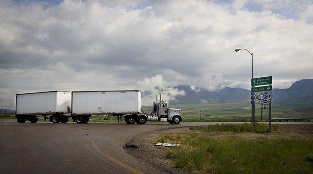Semi Truck, Truck, Double Trailer, Highway, Junction