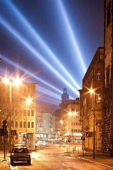 Road, City, At Night, Lamps, Orange, Blue, Shining