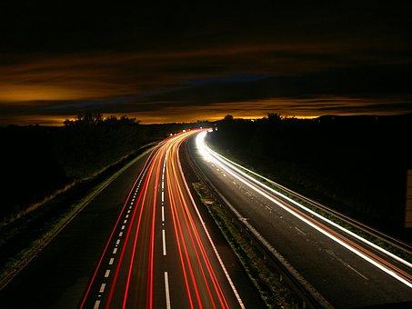 Highway, Night, Traffic, Light, Motion, Long Exposure