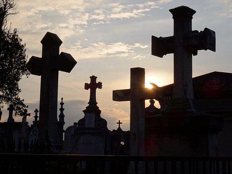 Cemetery, Lyon, Love Loyalty, Cross, Sunset