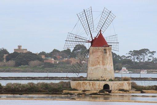 Mill, Windmill, Drills, Marsala, Salina, Sicily, Water