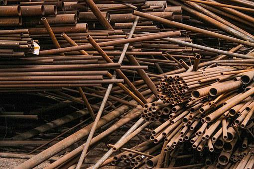 Pipes, Rods, Metal Tubes, Stainless, Old, Pipe Fittings