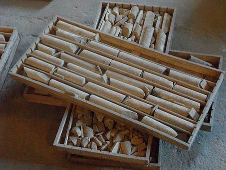 Mining, Drill Cores, Boxes, Stacked, Mine, Historically