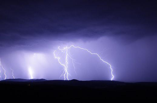 Flash, Thunderstorm, Ore Mountains, Nature, Sky, Night