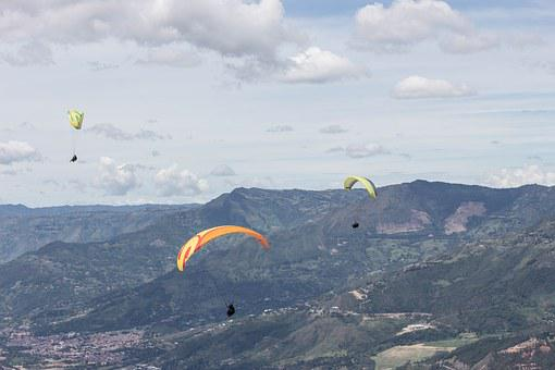 Paragliding, Colombia, City, Adventure, End, Sports