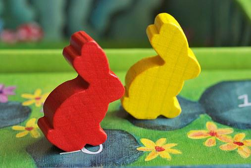 Bunnies, Figurines, Pawns, Game, Boards, Board Game