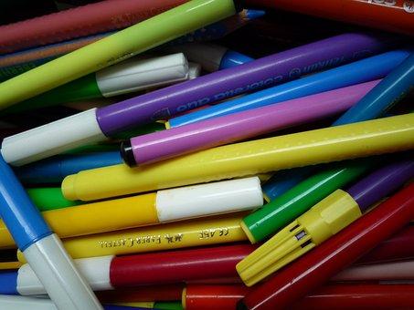 Pens, Colorful, Color, Crayons, Colour Pencils, Mess