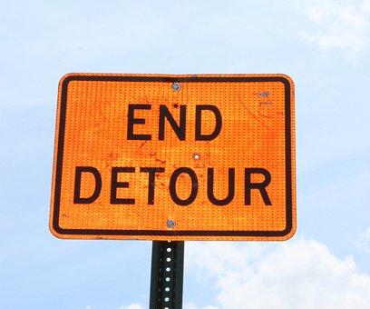Detour, Sign, Street, Road, Traffic, Construction