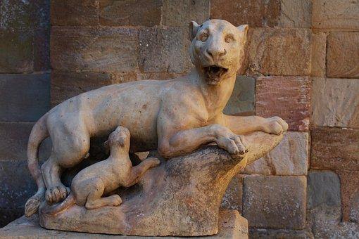 Statue, Stone Statue, Lioness, Lion Cub, Sculpture