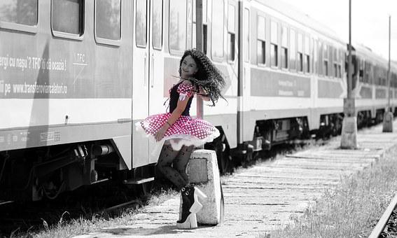 Girl, Train Station, Calling, Pole, Spinning Is, Train
