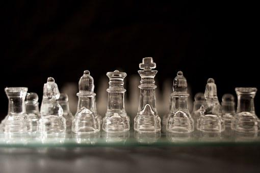 Chess Pieces, Glass, Chessboard, Game, Strategy, Board