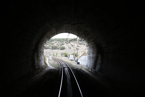 Tunnel, Railway, Train, Mountain, Crimea, Light