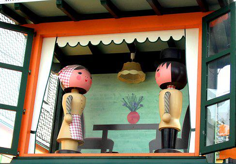 Wooden Figures, Pair, Turned To Two Figures, Painted