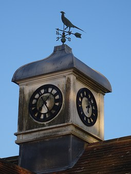 Clock Tower, Clock, Wind, Aged, Windvane, Weathervane