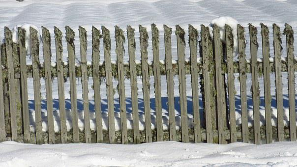 Fence, Snow, Wood Fence, Paling, Garden Fence, Delimit
