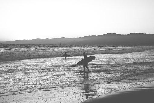 Surfing, Beach, Surfboard, Sillhouette, Surfer, People