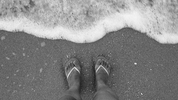 Feet, Black And White, Sand, Wave, Bubbles, Nature