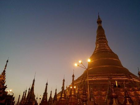 Pagoda, Shwedagon, Burma, Sunset, Buddhism, Building
