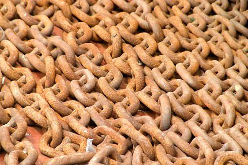 Rusty, Chain, Metal, Links Of The Chain, Iron, Brown