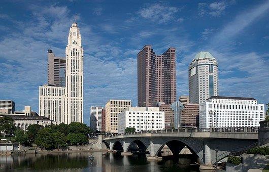 Columbus, Ohio, City, Urban, Skyline, Cityscape, River