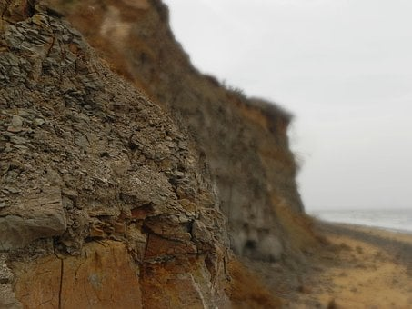 Cliff, Erode, Sea, Walton, Shore, Rock, Sand, Crumble