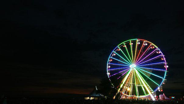 Ferris Wheel, Black, Evening, Night, Color, Colorful