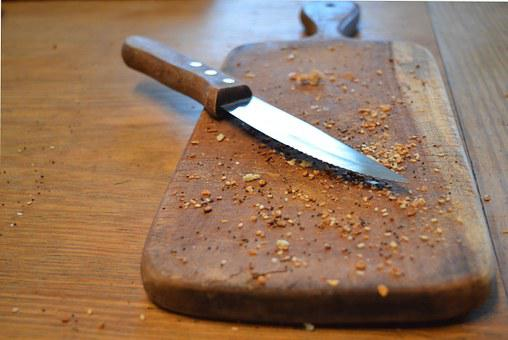 Knife, Cutting Board, Kitchen, Crumbs, Chef, Food