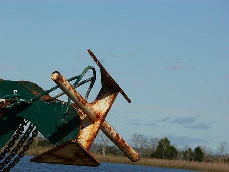 Anchor, Fishing, Rusty, Equipment, Chain, Sea, Water