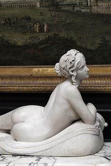 Statue, From, Woman, Chantilly, France, Castle, Marble