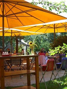 Garden Cafe, Screen, Orange, Parasol, Green, Colorful