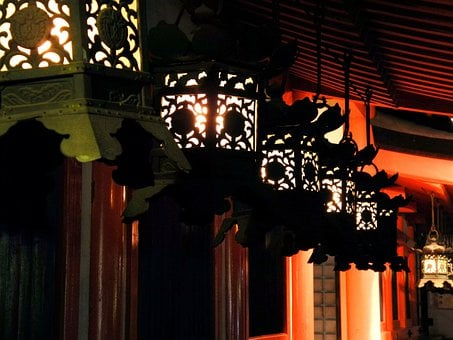 Lantern, Kasuga Shrine, Night, Nagoya, Japan, Outdoors